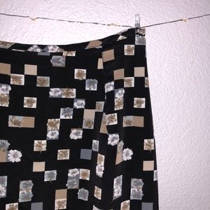 Dresses & Skirts - Retro Black and brown floral maxi skirt (90s-00s)